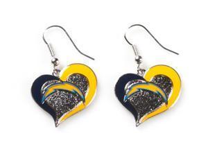 San Diego Chargers Swirl Heart Earrings