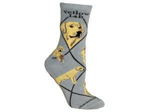 Yellow Lab Dog Gray Cotton Ladies Socks