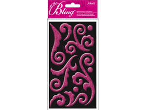 Jolees 426211 Bling Stickers-Pink Puffy Flourish