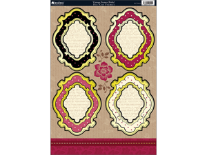 """Shabby Chic Die-Cut Punch-Out Sheet 8""""X12""""-Vintage Frame Ruby/Ivory"""
