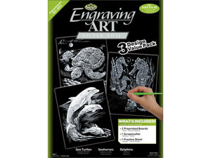 "Foil Engraving Art Kit Value Pack 8-3/4""X11-1/2""-Silver-Turtle/Sea Horse/Dolphins"
