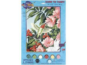 """Learn To Paint! Paint By Number Kit 9""""X12""""-Hummingbird & Fuchsias"""