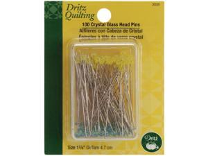 "Dritz Quilting Crystal Glass Head Pins-1-7/8"" 100/Pkg"