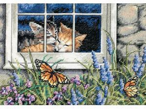 """Gold Collection Petite Feline Love Counted Cross Stitch Kit-7""""X5"""" 18 Count"""