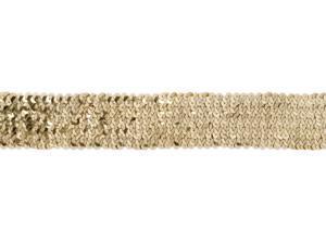 "Stretch Sequin Trim 1-3/4"" Wide 10 Yards-Gold"