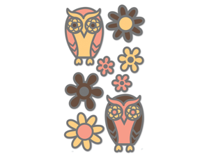 Glitter Outline Dimensional Stickers-Owls & Flowers