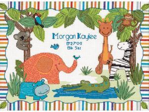 "Baby Hugs Mod Zoo Birth Record Counted Cross Stitch Kit-12""X9"""