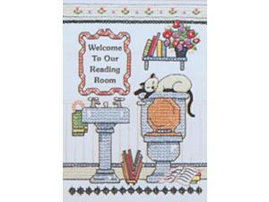 "Reading Room Welcome Mini Stamped Cross Stitch Kit-5""X7"""