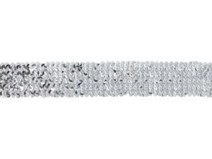 "Stretch Sequin Trim 1-3/4"" Wide 10 Yards-Silver"