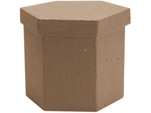 "Paper Mache Tall Hexagon Box-3""X3""X3"""