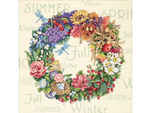 """Gold Collection Wreath Of All Seasons Counted Cross Stitch K-14""""X14"""""""