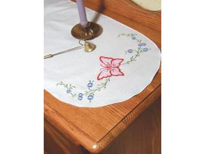 """Stamped Perle Edge Dresser Scarf 15""""X42""""-Daisy Butterfly"""