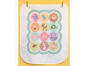 "Baby Hugs Happi Woodland Quilt Stamped Cross Stitch Kit-34""X43"""