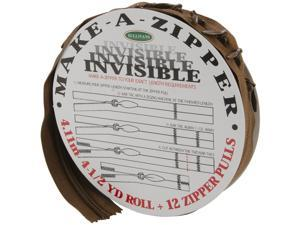 Make-A-Zipper Kit Invisible 4-1/2yd-Brown