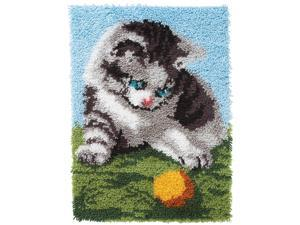 "Wonderart Latch Hook Kit 20""X27""-Playful Kitten"