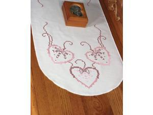 "Stamped Perle Edge Dresser Scarf 15""X42""-Three Hearts"