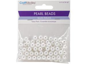 Pearl Beads Value Pack -8Mm White 80/Pkg