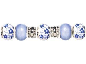 Trinkettes Glass & Metal Beads 7/Pkg-Blue Flowers