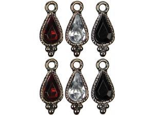 Jewelry Basics Metal Charms 6/Pkg-Gunmetal Teardrop
