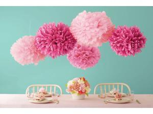 Celebrate Decor Pom Poms 5/Pkg-Pink