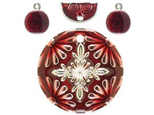 Jewelry Basics Metal Charms 4/Pkg-Red Circle & Red Accents