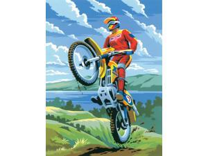 "Junior Small Paint By Number Kit 8-3/4"" X 11-3/4""-Motocross"