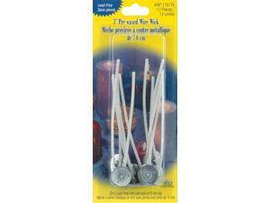 "Pre-waxed Wire Wick w/Clip 3"" 12/Pkg-15mm"