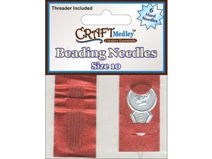 Beading Needles W/Threader-Size 10 6/Pkg