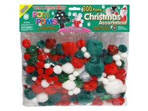 Pom Poms Assorted 300/Pkg-Christmas- Assorted Colors & Sizes