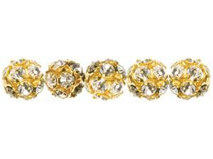 Jewelry Basics Metal Beads 6mm 5/Pkg-Gold/Clear Rondelle