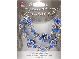 """Jewelry Basics Glass Beads 8"""" Strand/Pkg-Blue Fancy Round Mix"""