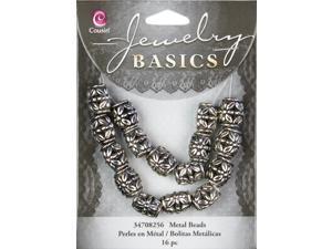 Jewelry Basics 9mmx10mm Metal Barrel Beads W/6mm Hole 16/Pkg-Silver