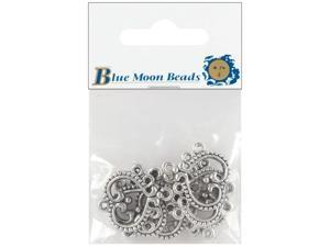 Blue Moon Silver-Plated Metal Connectors 6/Pkg-5-Hole Heart Chandelier