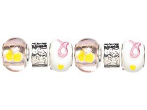 Trinkettes Glass & Metal & Clay Beads 6/Pkg-Pink & Yellow Ribbon