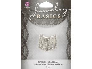 Jewelry Basics 4mmx21mm Glass Beads 6/Pkg-Silver/Crystal Rondelle