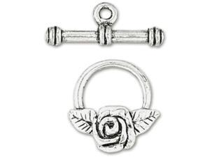 Blue Moon Plated Metal Toggle Clasps-Rose Silver 3/Pkg