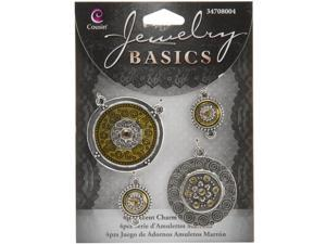 Jewelry Basics Metal Charms 5/Pkg-Brown And Silver Charms 4/Pkg