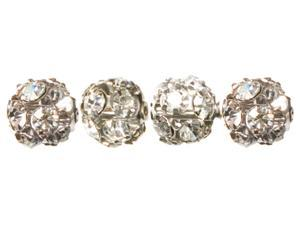 Jewelry Basics 8mm Metal Rondelle Beads 4/Pkg-Silver/Clear