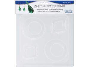 "Resin Jewelry Reusable Plastic Mold 6.25""X7""-Diamond & Round"