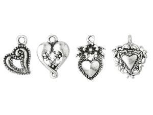 Blue Moon Silver-Plated Metal Charms-Silver Heart Assortment 10/Pkg