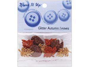 Dress It Up Embellishments-Glitter Autumn Leaves