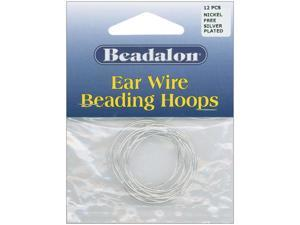 Ear Wire Beading Hoops Large 30mm 12/Pkg-Silver-Plated & Nickel-Free
