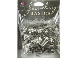 Jewelry Basics Metal Findings 120/Pkg-Silver Ribbon Clamp Ends