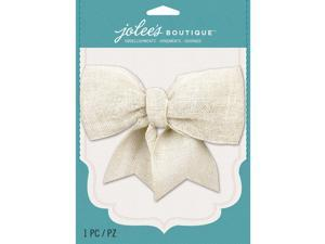 Jolee's Boutique Burlap Large Bow-Cream