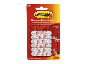 3M 17026 Command Decorating Clips 20 clips, 24 strips