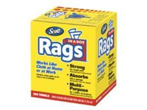"Scott 75260CT Rags in a Box, 10"" x 13"", White, 200/Box, 8 Boxes per Carton, 1 Carton"