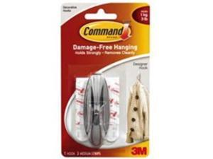 3M 17081B Command Designer Medium Hooks with Water-Resistant Strips