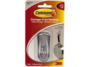 3m 17071BN Medium Brushed Nickel Command Hook With 2 Adhesive Strips