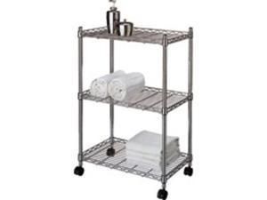 Homebasix SS-8055-344T-C 3-Tier Jumbo Storage Cart Chrome - Each