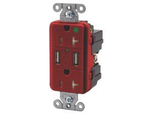 USB Charger Receptacle Red HUBBELL ELECTRICAL PRODUCTS Receptacles and Switches